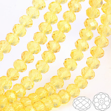 OlingArt 3/4/6/8/10mm Round Glass Beads Rondelle Austria faceted crystal Lemon yellow color Loose bead DIY Jewelry Making недорого