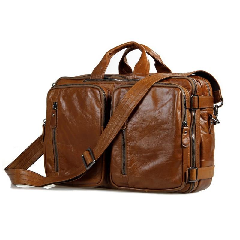 الرجال حقيبة أعمال لينة جلد طبيعي حقيبة يد للحاسوب المحمول متعددة الوظائف جلد البقر الكتف Messenge حقيبة للذكور الأعمال حمل-في حقائب جلدية من حقائب وأمتعة على  مجموعة 1