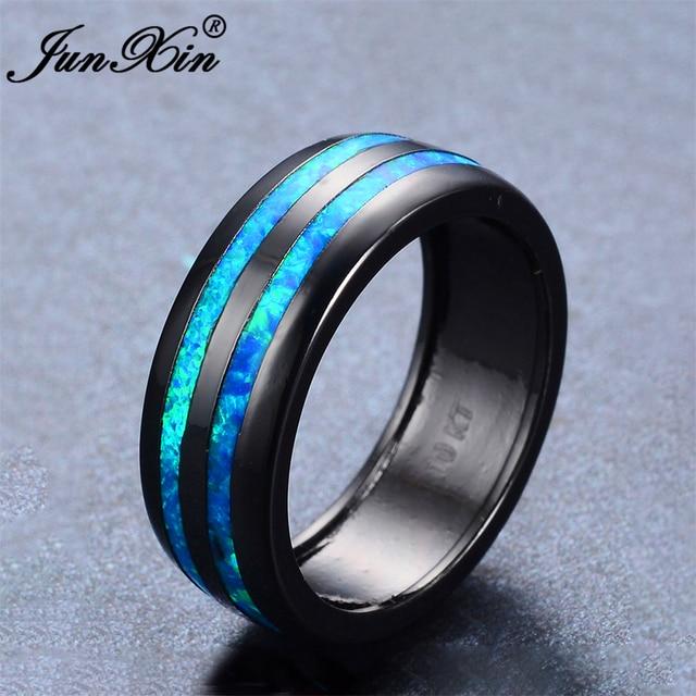 Junxin Vintage Male Female Ring Blue Fire Opal Ring Retro Black Gold