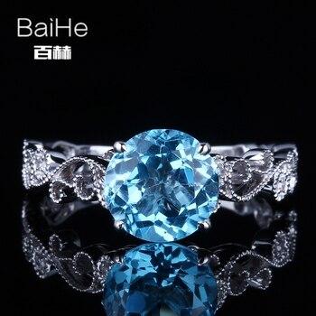 11fb4a0453d9 Baihe 925 2.5ct certificado impecable corte redondo Topacio Azul genuino  compromiso mujeres lindo romántico Joyería fina anillo