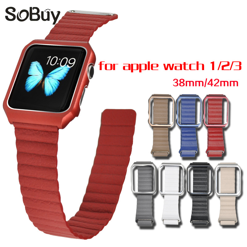 So buy sport Leather Loop strap for apple watch band 42mm 38mm Metal Case Magnetic Wrist bracelet iWatch 1 2 3 Protective shell