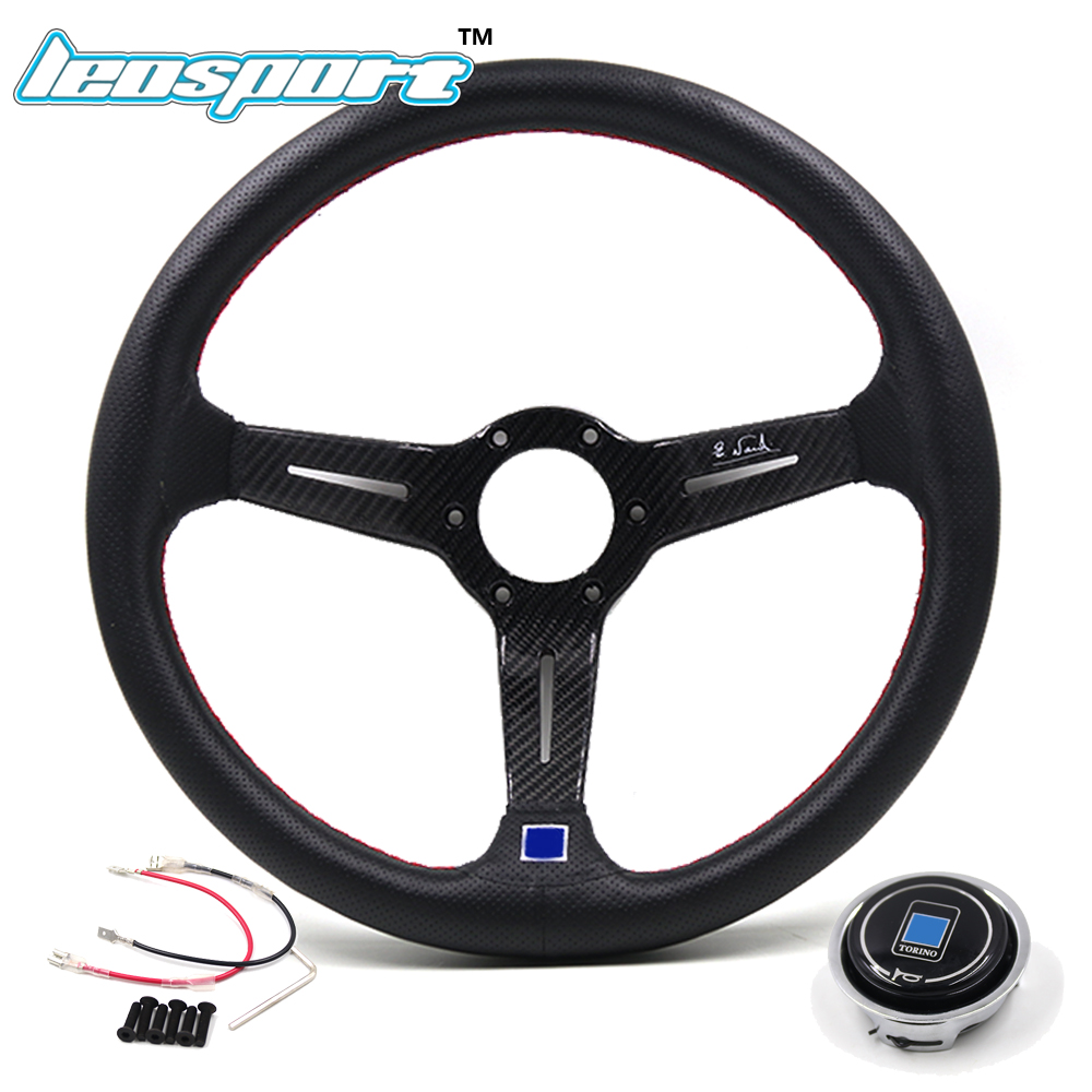Leosport-14 (350mm)Steering Wheel really Leather and carbon fiber red line Steering Wheel Deep concave Racing Steering Wheel leosport prestashop theme