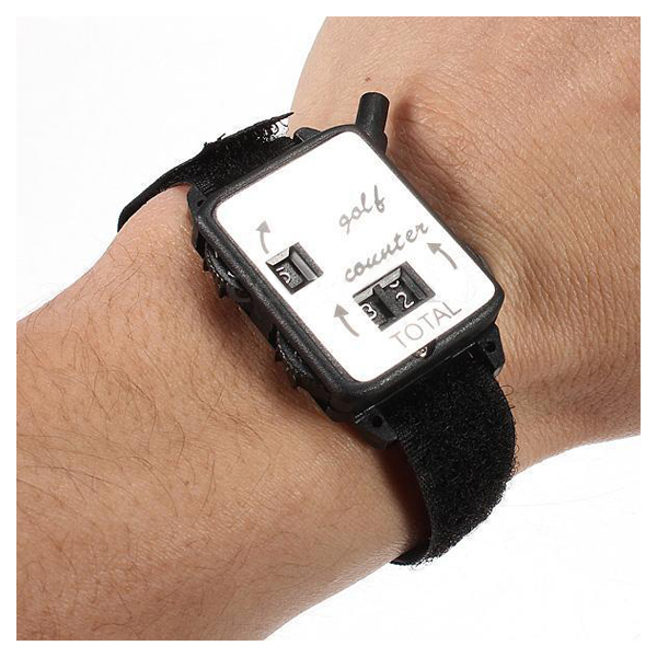 SZ-LGFM-Golf Club Stroke Score Keeper Count Putt Shot Counter Watch w/ Wristband Band Black