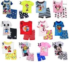 Boy girl kids short pajama set baby Mickey Minne sleepwear kids short clothes set kids short