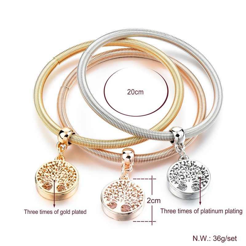 f019f7642e5f ... LongWay 3 PCS Set Gold Color Tree Of Life Charm bracelets   bangles  Round Crystal ...