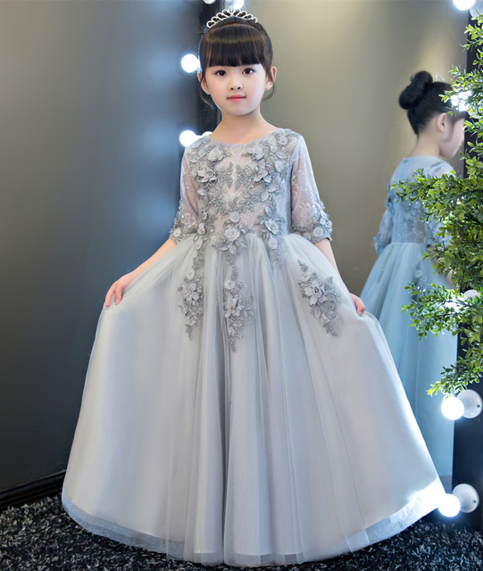 ceaede818bf Lovely Silver Tulle Half Sleeves Flower Girl Dresses Girls  Pageant Dresses  Birthday Princess Dress Custom Made Size 2-14 F18336