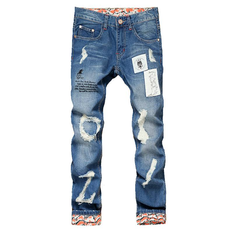 #1551 2016 Biker jeans homme Fashion Ripped jeans for men Patchwork Straight jeans masculino Mens skinny jeans Distressed