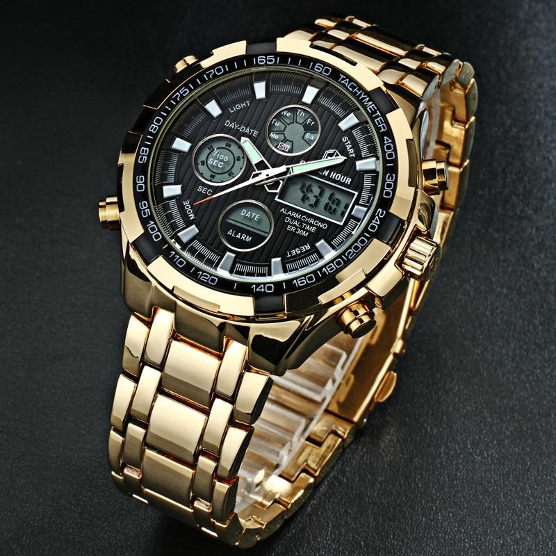 65a62b20ac64 Reloj Para Hombre Deporte Militar Reloj de Pulsera de Oro de Acero lleno  Led Digital Back Light Relojes Hombres Relogio masculino en Relojes de  cuarzo de ...