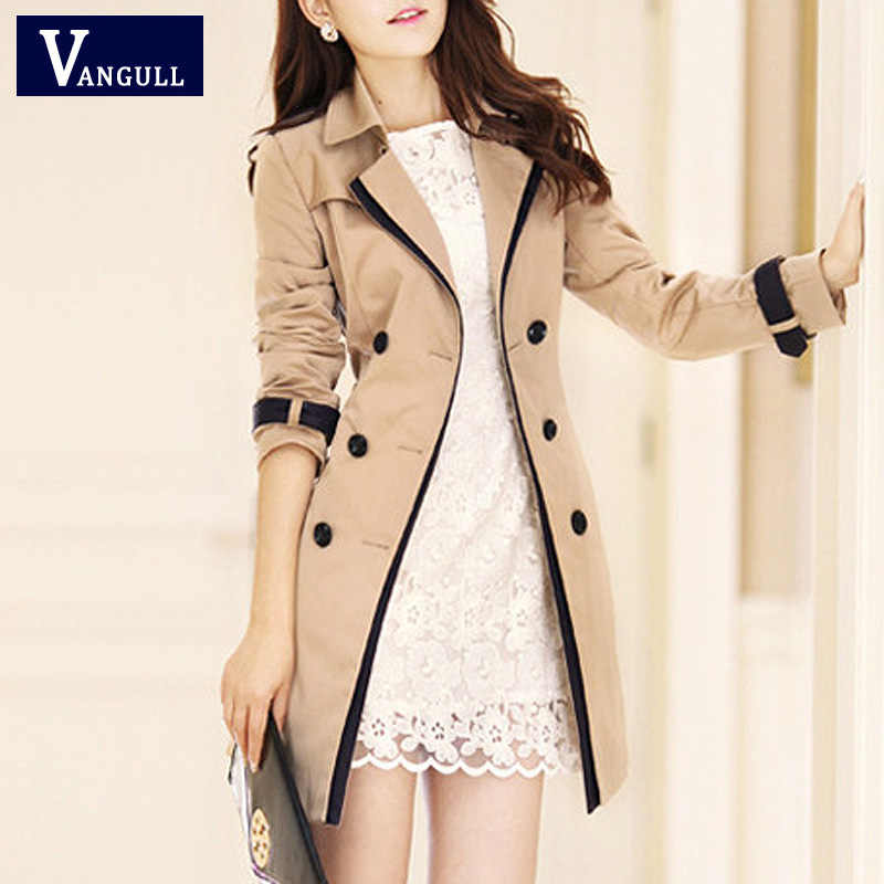 Vangull 2019 แฟชั่นผู้หญิงบาง Trench Coat Turn-down Collar Double Breasted Patchwork ยาว Trench Coat Slim Plus ขนาด wind coat