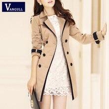 Vangull الموضة النساء رقيقة خندق معطف بدوره إلى أسفل طوق مزدوجة الصدر خليط الإملائي اللون خندق ضئيلة معطف رياح حجم كبير