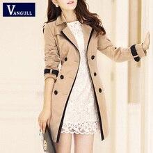 VANGULL Trench Coat For Women 2018 Fashion Turn-down Collar