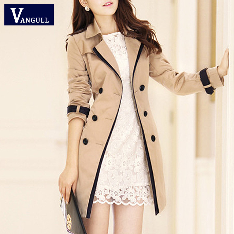 Vangull 2019 Fashion Women Thin Trench Coat Turn-down Collar Double Breasted Patchwork Long Trench Coat Slim Plus Size Wind coat title=