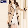 Vangull Trench Coat para mujeres 2016 da vuelta abajo la moda contraste doble de pecho de Color Long Coats Plus Size Casaco Feminino