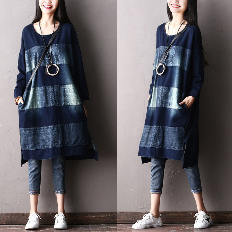 2018 female new spring and autumn plus size outerwear casual denim long -sleeve fashion all-match loose shirt s 4xl spring and summer female o neck medium long basic t shirt women s all match long sleeve t shirt cotton plus size loose top