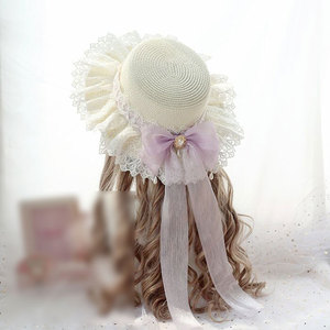 Image 3 - Sweet Lolita Straw Sunhat Mori Girl Caps with Lace & Bowknot Beach Summer Hat