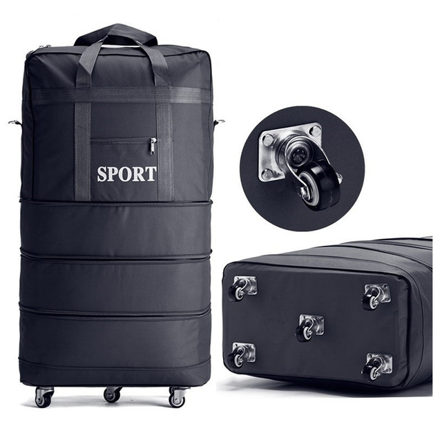 Large capacity bag Expandable tracel Suitcases Foldable Men Luggage Lockable Travel Bag Women Spinner Rolling Trolley waterproof