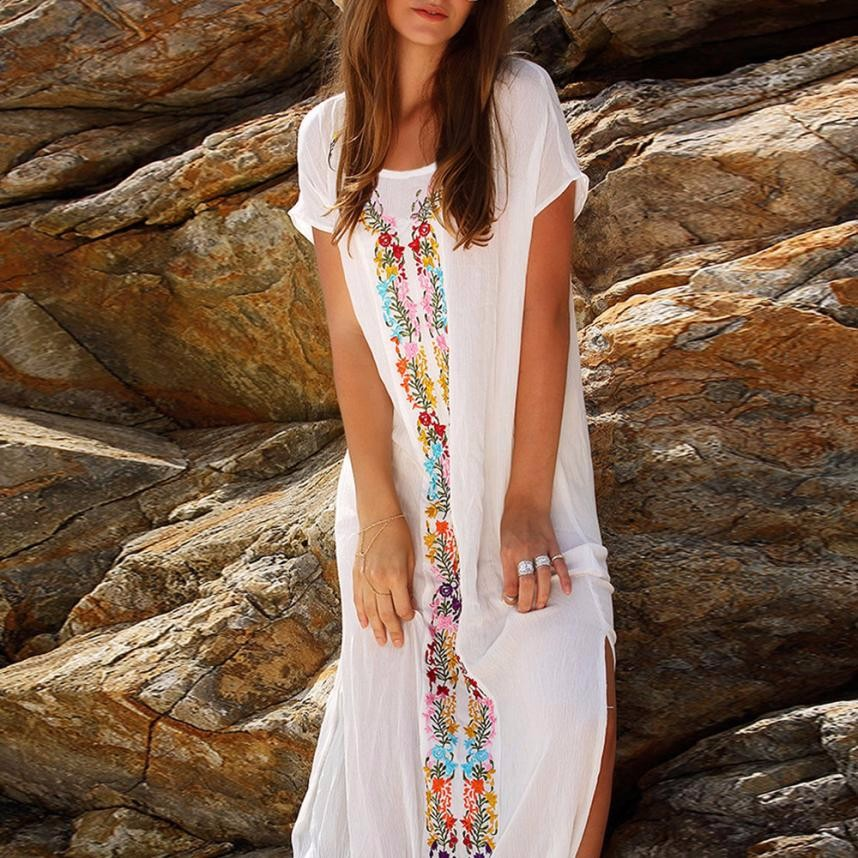 Sports & Entertainment Clever Saida De Praia Kaftan Beach Swimwear Cover Up Women Pareos For New Embroidered Dress Short Long Sleeve Cangas Salidas Playa Moda