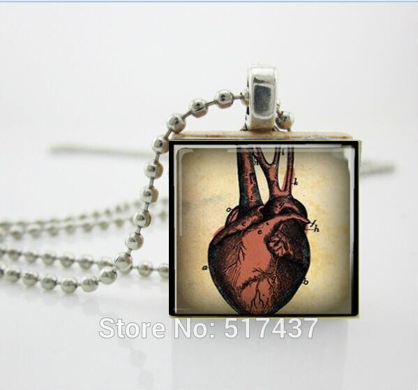 Анатомические Ожерелье Сердца Человеческого Сердца Кулон Медицинских Наук Эрудит Плитка Подвеска с Шариковой Цепью, Дерево Ожерелье
