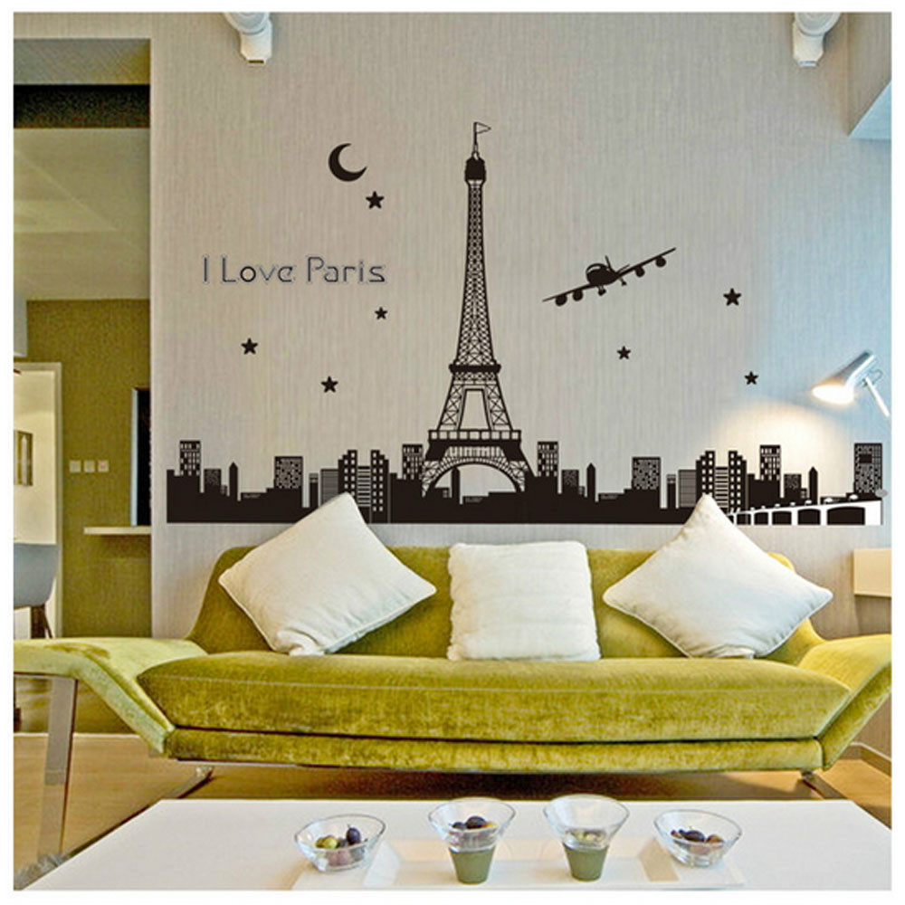 Paris Eiffel Tower Night Removable Luminous Wall Sticker Vinyl Decal  Decoration Glow In The Dark(