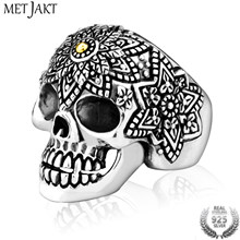 MetJakt Hand-Carved Men's Punk Domineering Skull Ring Solid 925 Sterling Silver Ring for Mens Personality Biker Jewelry(China)