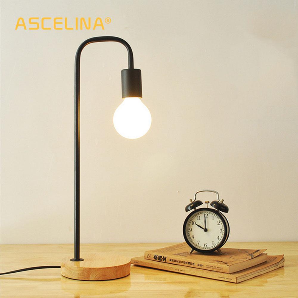 ASCELINA Nordic Moderní stolní lampy Creative Jednoduchá stolní lampa Bedlamp Led žárovka pro obývací pokoj Spodní dřevěná podstava 110V / 220V