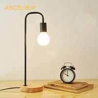 Ascelina 북유럽 현대 책상 조명 크리 에이 티브 간단한 테이블 램프 bedlamp 철 led 조명 거실 침실 나무 자료 110 v/220 v