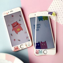 For iPhone 7 Tempered Glass Full Cowl Display screen Protector Cute Cartoon Cat four.7 &5.5 inch display screen protector