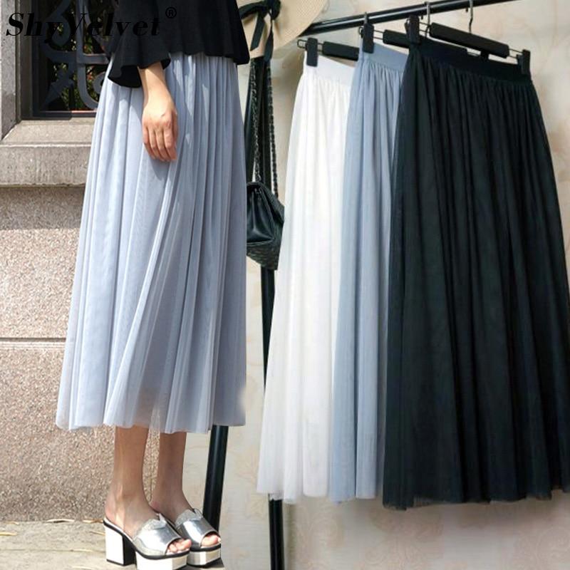 a93567ef6e131 Long Tulle Skirt 3 Layers Maxi Tutu Skirt Faldas Saias Femininas Jupe  Elastic High Waist Mesh