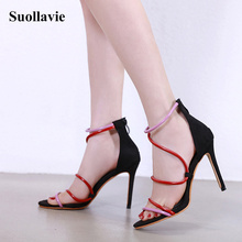 Sexy Sandals Stiletto Women Heel Sandals Open Toe Mixed Color Ladies Party Shoes 2019 Summer Gladiator Sandals Size 35-40 great mixed color multi band sandals stiletto heel high quality sexy open toe shoes summer hot selling high heel sandals on sale