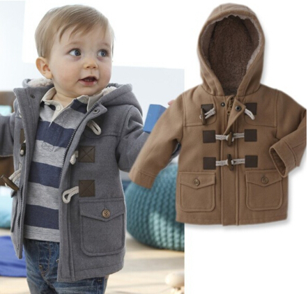 2015 Free Shipping winter fashion button baby thick outerwear jacket warm coat jacket children retail boys hooded coat