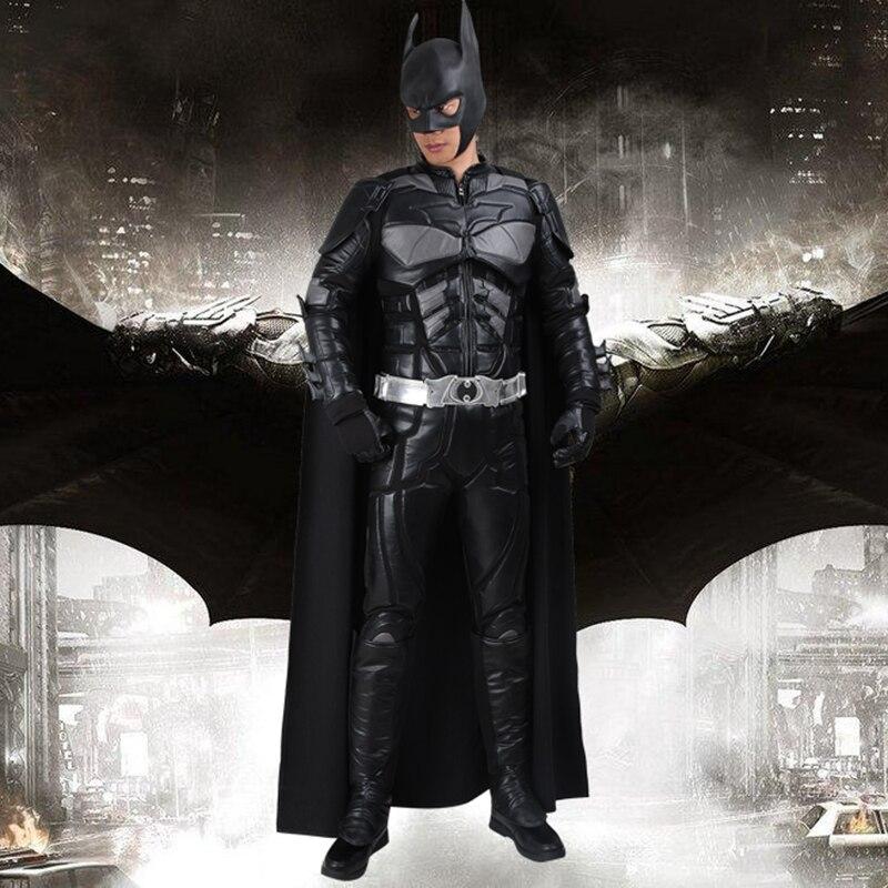 Batman Cosplay Costume Bruce Wayne Cape Le Dark Knight Rises Cosplay Vêtements Costume de Super-Héros Ensemble Complet Adulte Hommes Hallowen