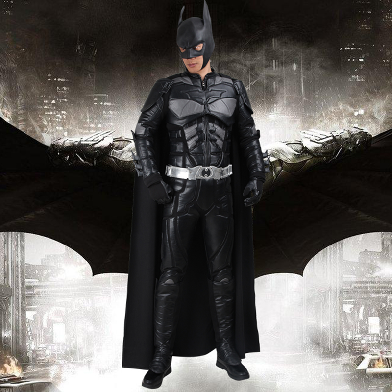 Batman Cosplay Costume Bruce Wayne Capo The Dark Knight Rises Cosplay Abbigliamento Superhero Outfit Full Set Uomini Adulti Hallowen