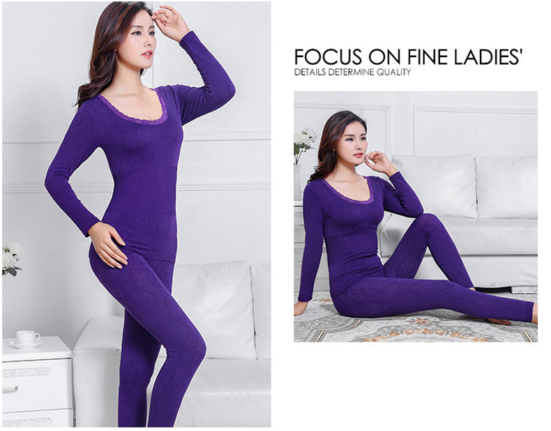 Long Johns Women For Winter Sexy Women Thermal Underwear Suit Women Body Shaped Slim Ladies Intimate Sets Female Pajamas Warm 2