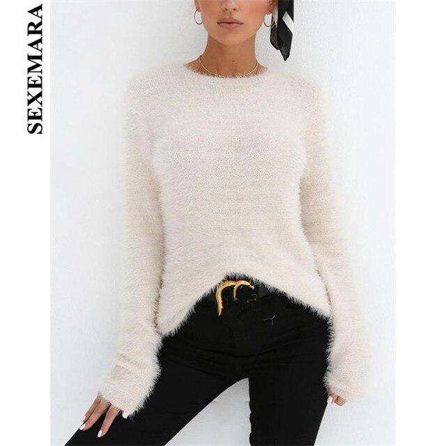 632963c6cfac BOOFEENAA White Black Fluffy Knit Jumper O Neck Long Sleeve Thin Sweater  Women Tops 2019 Fall Fashion Knitting Pullovers C34-I32