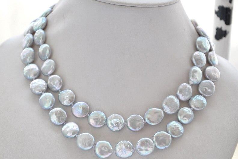 fea117e555d6 La boda de la joyería de la mujer 2 filas 13-15mm AA luz gris perla redonda  rebanada collar de gargantilla de perla Natural de agua dulce regalo hecho  a ...