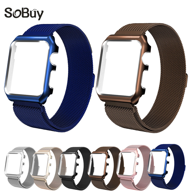 So buy for Apple Watch iwatch 1/2/3 Stainless Steel Milanese Strap Loop Wrist band 38mm Bracelet 42mm Metal protective case box idg for apple watch 1 2 3 stainless steel milanese strap metal loop wrist band 38 bracelet 42mm watch protective case box frame
