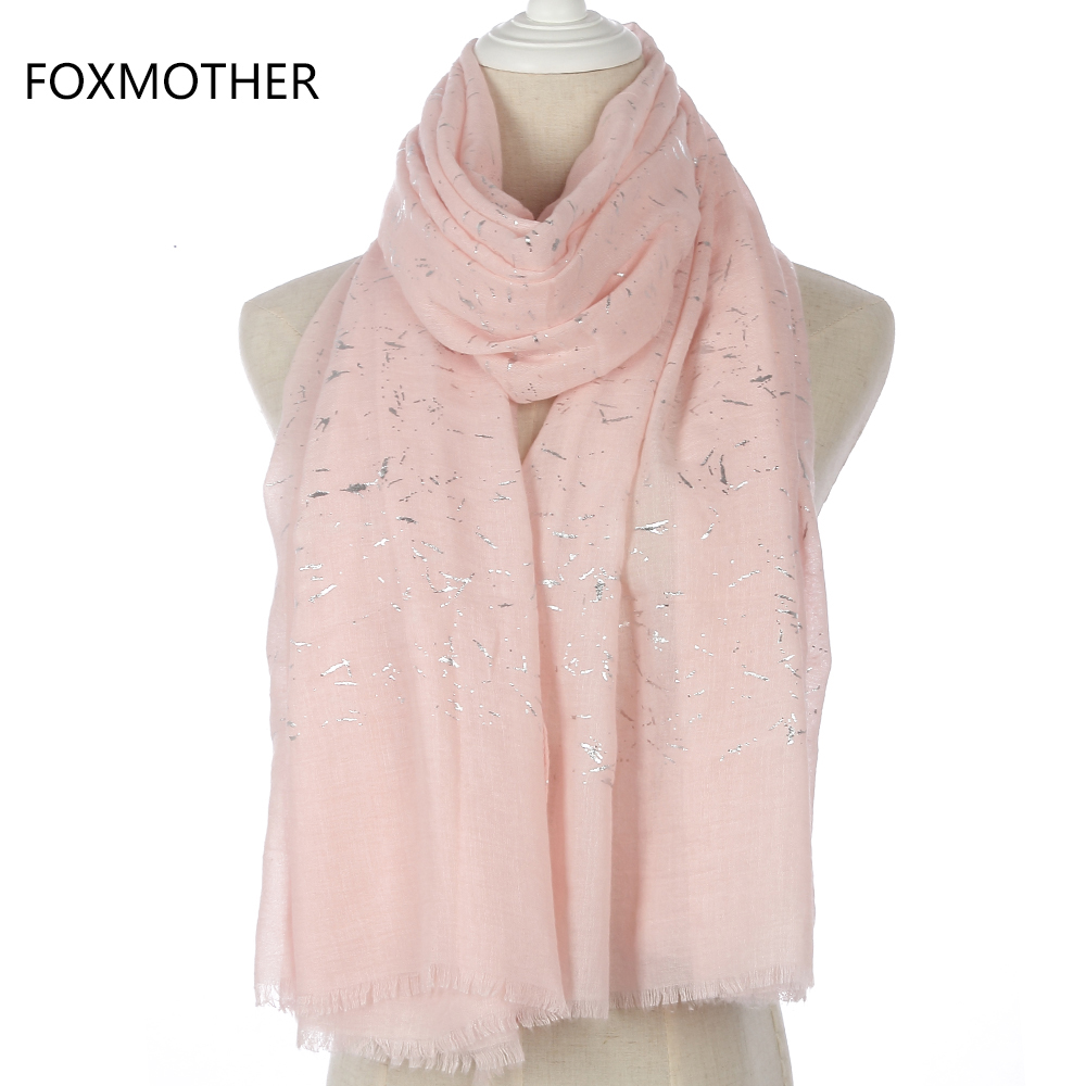 FOXMOTHER New Fashion Brand Pink Black White Foil Silver Graffiti Fringe Glitter Hijab Scarf For Womens