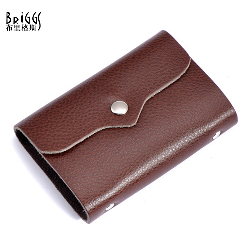 BRIGGS 26 Card Place 100% Cow Genuine Leather Card holder Business Credit Card Women&Men's Name Bank Credit Card Holder Wallet smiley sunshine genuine leather card holder business bank credit card