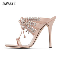 JAWAKYE New design Rhinestone Lace Up Stiletto High Heels Slip On Women Sandals one narrow belt Party Slipper jeweled sandals