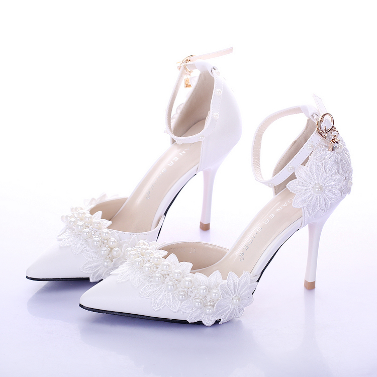 Summer New pure white pearl bride wedding shoes 9cm high heels pointed toe with anckle strap wedding shoe slot bow sandals