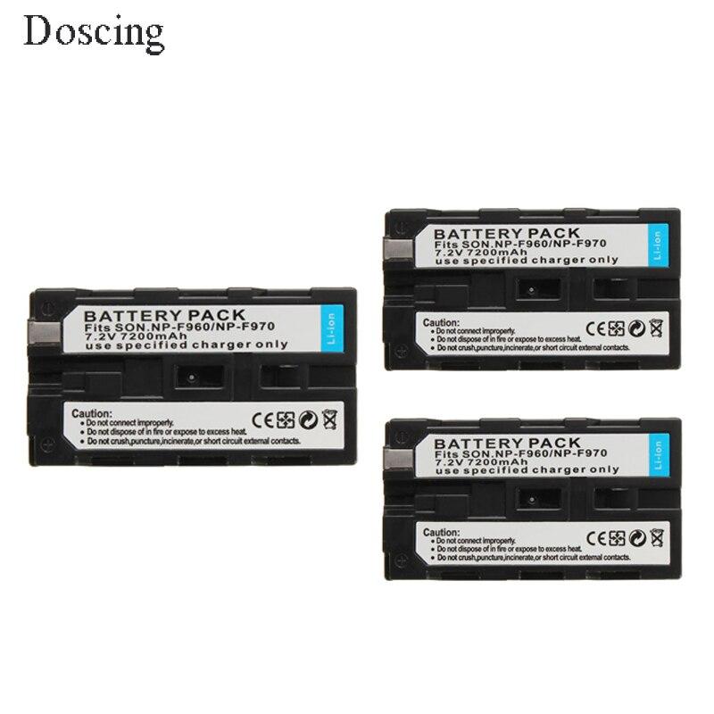 3Pcs 7200mAh NP-F960 NP-F970 NP F930 Battery for SONY F950 F330 F550 F570 F750 F770  HXR-NX5 HXR-NX5P HXR-NX5V HXR-NX5U MVC-FD51 аккумулятор для фотокамеры boka np fv100 np fv100 sony hxr nx3d1 hxr nx3d1j hxr nx30 hxr nx30j for hxr nx3d1 hxr nx3d1j hxr nx30 hxr nx30j