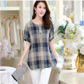New Summer Casual Women Shirts Plus Size Woman Clothes Short Sleeve Loose fit Cotton and Linen Women Tops Plaid Female  A878