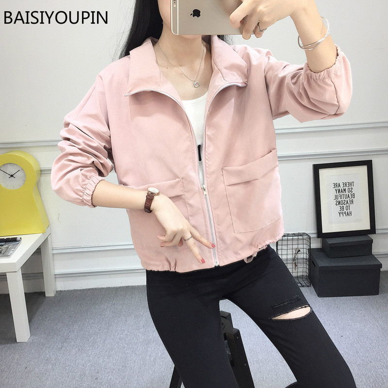 2018 New Spring Autumn Loose Short Thin Jacket Women Long Sleeve Zipper Big Pocket Student Coat