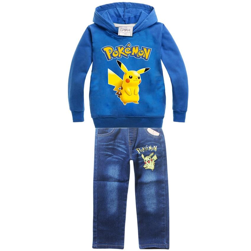 2017Autumn winter clothing baby boy Pokemon jeans sweater Go Children Cartoon Pikachu Funny print t-shirt pant long sleeves set