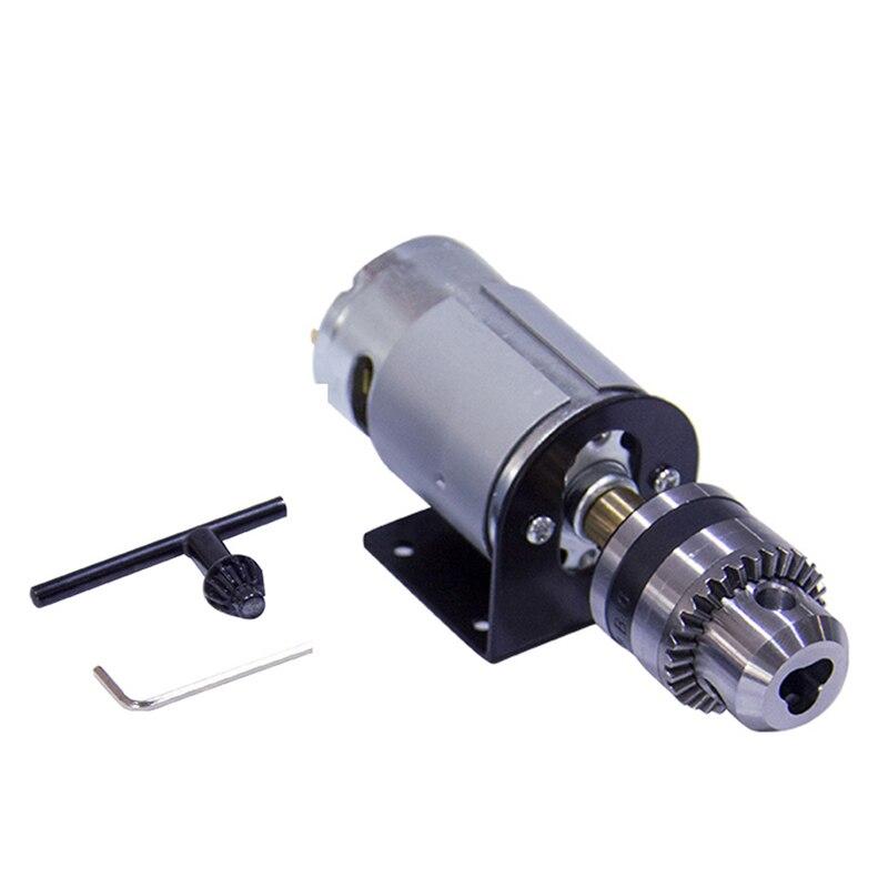 Motor de prensa de torno 555 de 12V CC con mandril de taladro manual en miniatura y soporte de montaje 555 Motor de cepillo de CC de 18000Rpm para ensamblaje de bricolaje
