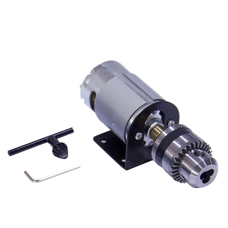 12 В постоянного тока токарный пресс 555 мотор с миниатюрным ручным сверлильным патроном и монтажным кронштейном 555 щеточный двигатель постоя...