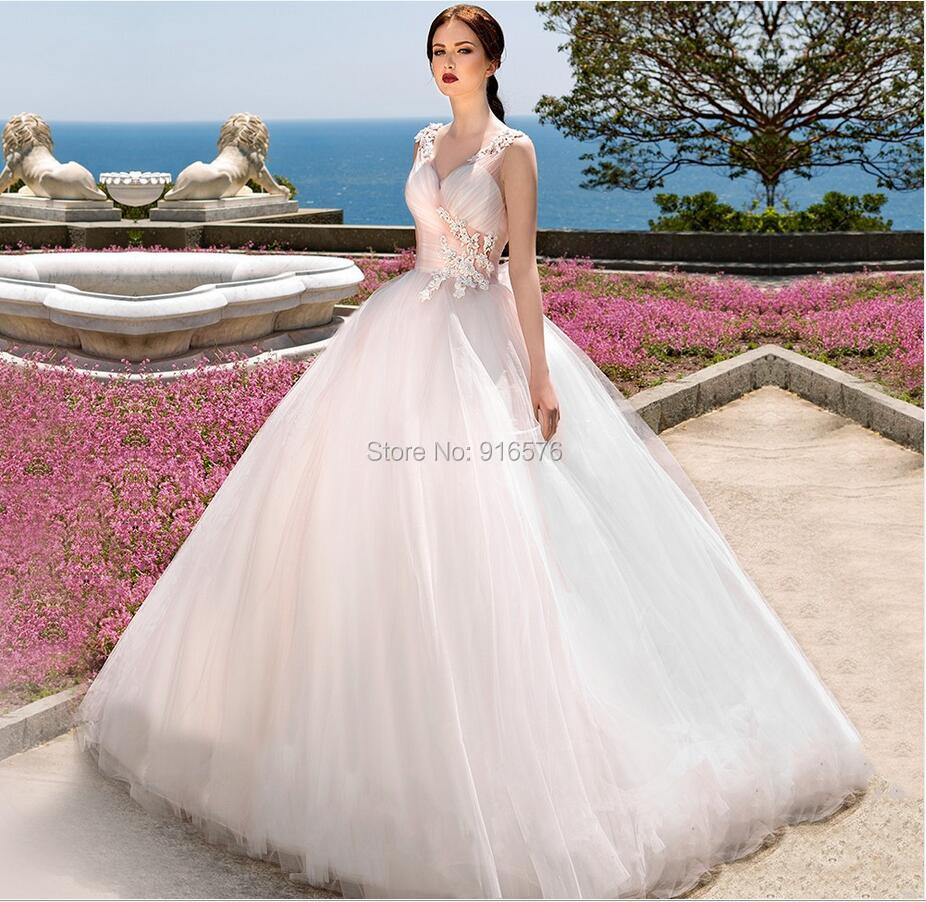Robe De Mariage Ball Gown Long Wedding Dresses Pink And White