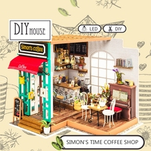 DIY Wooden Time Coffee Shop Miniature Dollhouse 3D LED Mini Kit With Furniture Light Creative Christmas Gift