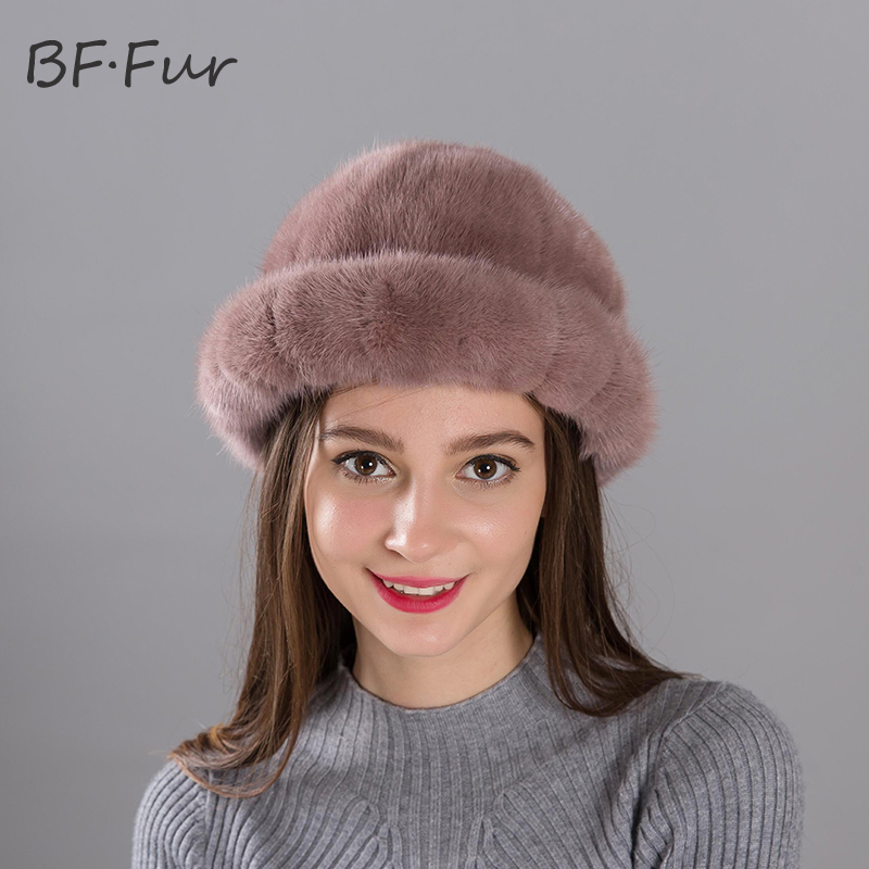 Gray Real Mink Fur Hat Winter Warm For Female Fashion Knitted Cotton Cap Lady Beanies Women Adult Warm Winter Hats Sonnet