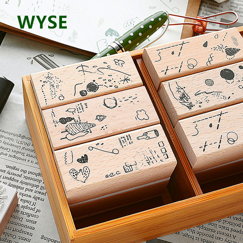 6pcs/set Wooden Stamps Natural Vintage Craft Wood Rubber Stamp Memories Handmade Seal  For Scrapbooking  Decora Card Making Tool
